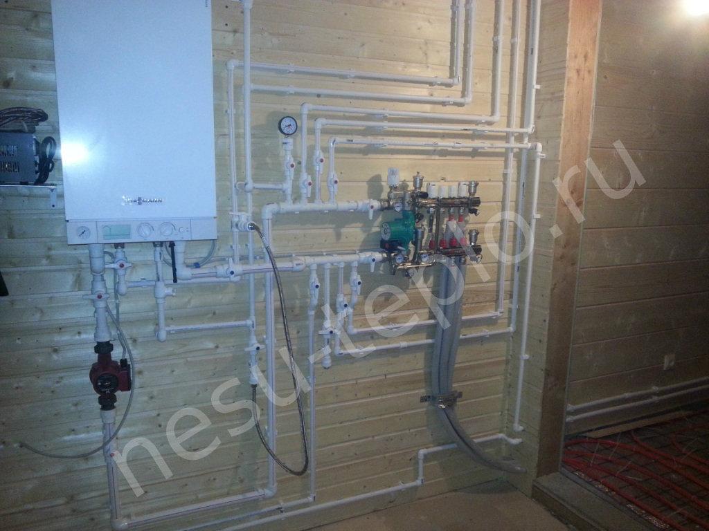 Котельная с теплыми полами и радиаторным отоплением от двухконтурного газового котла