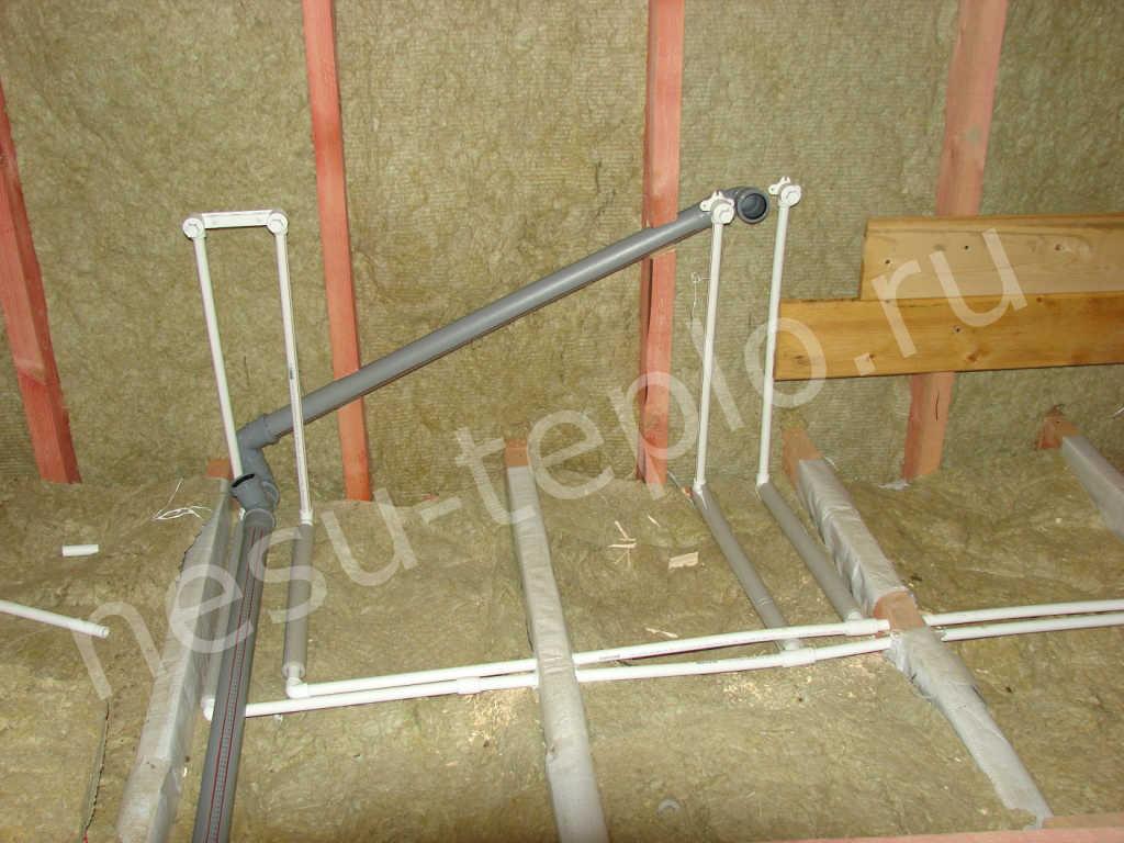 Разводка канализации и подвод воды в каркасном доме